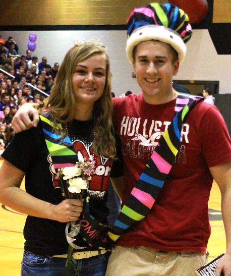 Hammann and Hawkes crowned king and queen at Snowcoming pep assembly