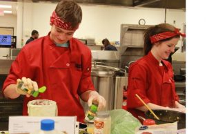 Members of the Iron Chef team compete in the annual Iron Chef Competition.