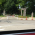 The remains of the Lindenwood University monument can be seen lying on the ground of the Kingshighway entrance.