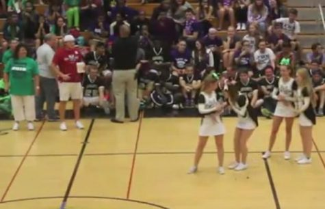 FHN Cheerleaders kiss a pig at the 2015 FHN Pep Assembly [Video]