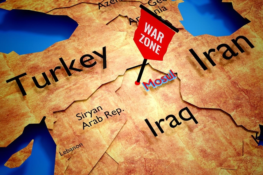The city of Mosul is in Northern Iraq and is near the Turkish and Syrian Border (Image from Shutterstock)