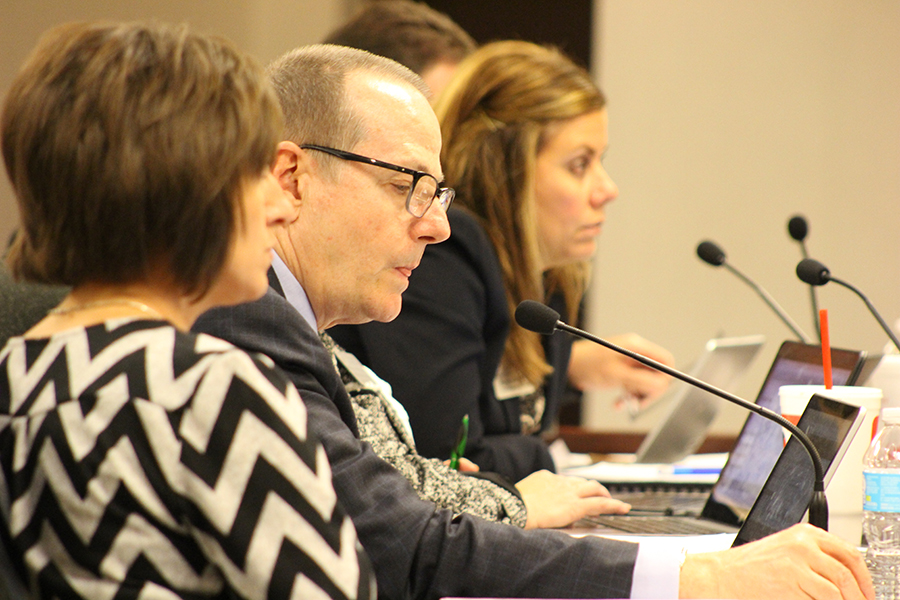 FHSD Chief Operating Officer Kevin Supple speaks to the Board of Education during a work session. He lays out the financial plans for the district moving forward, proposing different options the Board could decide to cut.