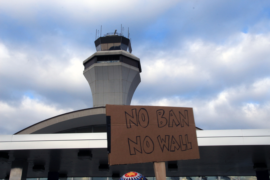 Demonstrators and Lambert-St. Louis Airport administration worked together to plan a protest on Jan. 29. The airport police blocked off an area on the Terminal 1 departures level between exits five and six to allow the protestors to gather without bothering customers. The airport was fully operational throughout the demonstration.