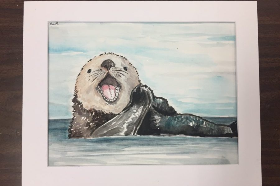 Senior Anastasia Medley submitted a painting of an otter for the gallery display. (photo by Anastasia Medley)