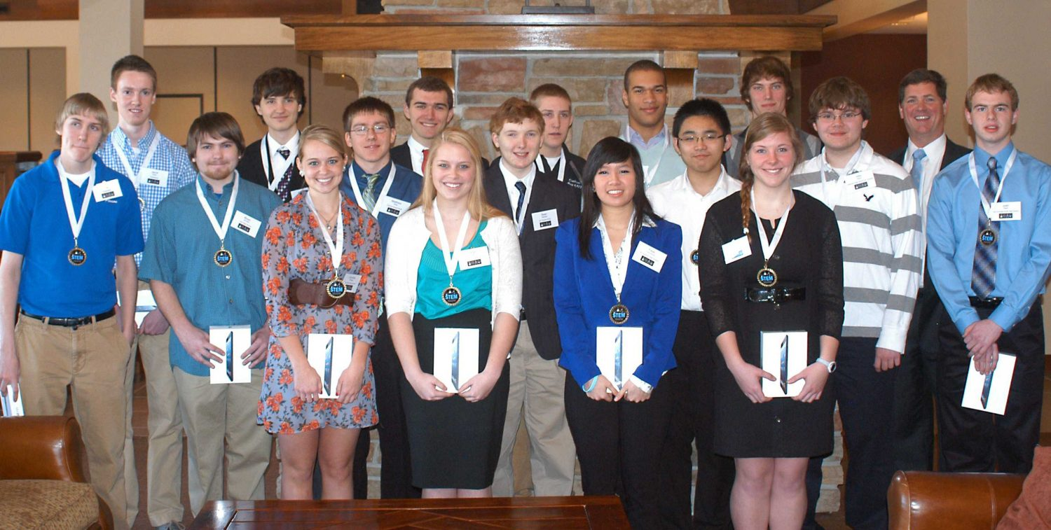 Bries and 15 other students pose for a photo at the Old Hickory Golf Club where they were honored with a breakfast for their endeavors in math, technology, science, and engineering.