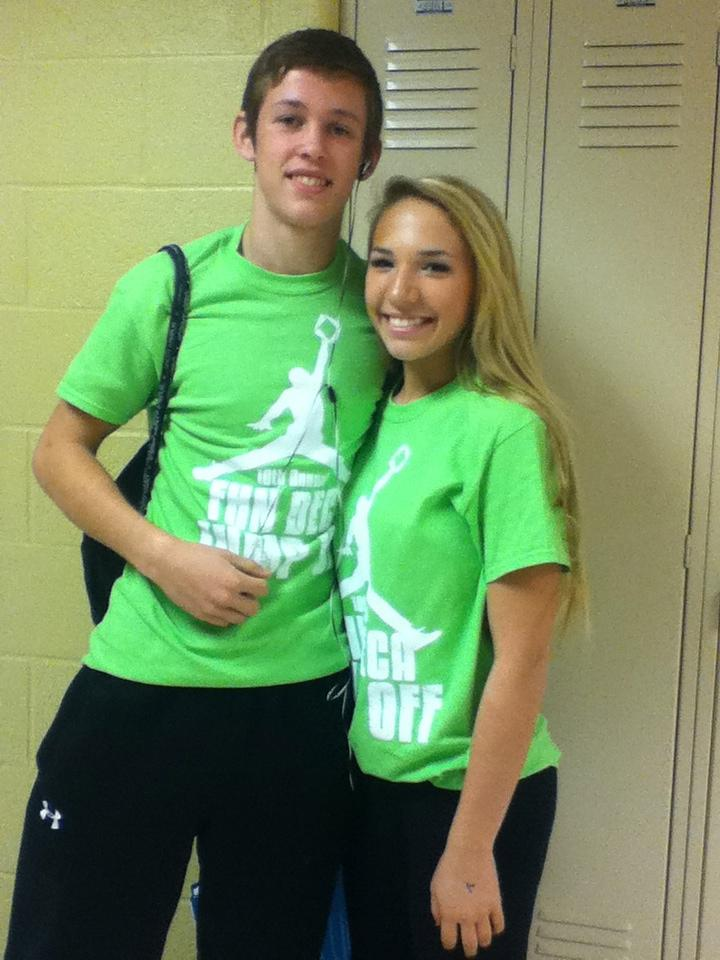 Juniors Sam Ritchie and Alex Arger on DECA Colors Day last year (file photo).