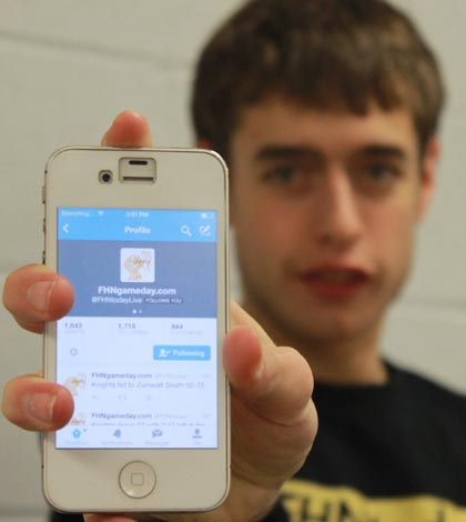 David McFeely live tweets many of FHN's sporting events. David uses the @FHNgameday twitter account to tkeep students and staff informed about live sports games going on.