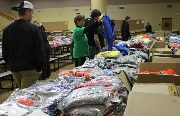 Customers shopping at the previous years sports apparel sale.  (file photo)