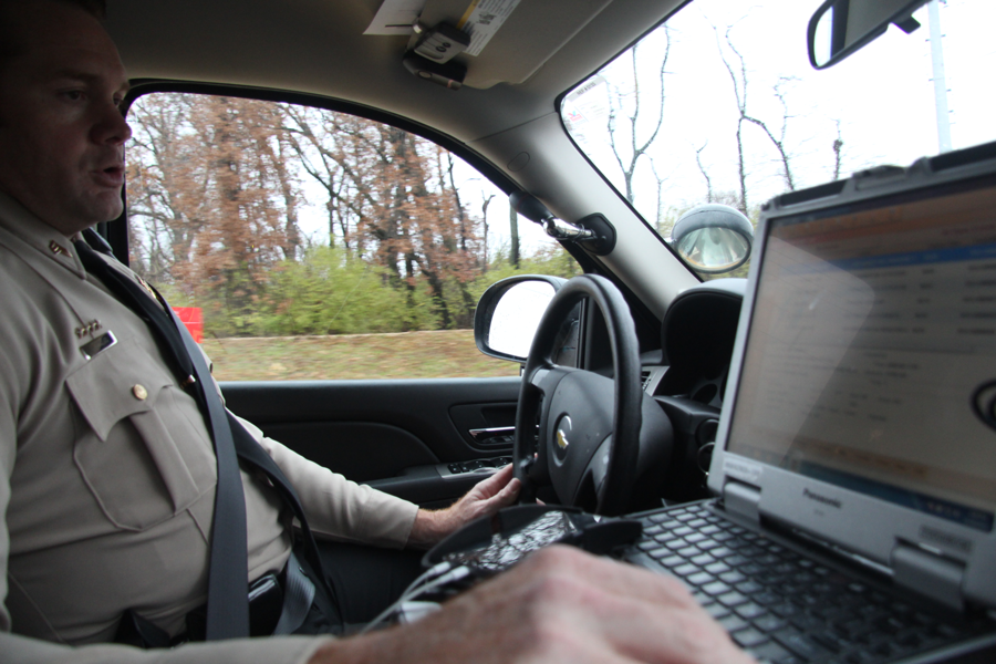 Sgt. Ryan Streck looks at his computer to decide what call he wants to help with for the evening shifts. He creates the schedule and patrols the area. Only a few minutes in and there is a call about a robbery from Toys R US on Mid Rivers. Sgt. Streck decides to help and begins drive along Highway 70. Since the suspected vehicle had Illinois license plates, he heads toward Illinois in hope to catch them. He ends up not finding them so he drives back to town.
