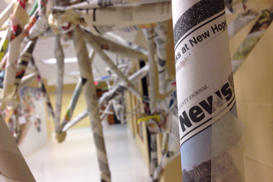 Introduction to Art Hangs up Newspaper Sculptures in 'Spaces and Places' Unit
