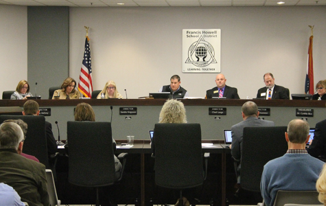 Superintendent Pam Sloan sits in front of the FHSD Board of Education during an August meeting over district budget cuts after the failure of Prop Y.