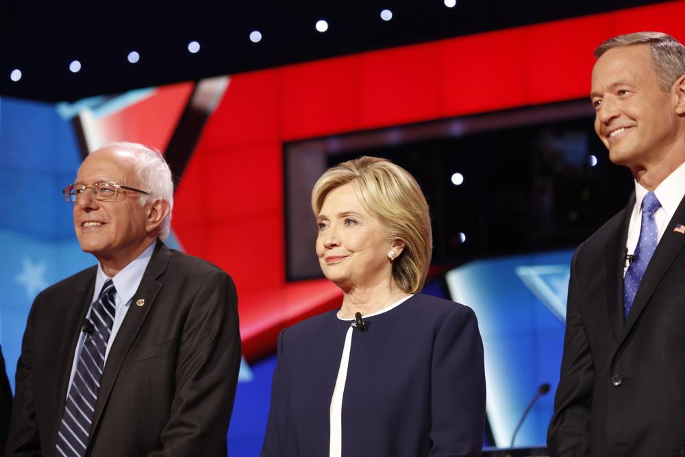LAS VEGAS, NV - OCTOBER 13 2015: (L-R) Democratic presidential debate features candidates Sen. Bernie Sanders, Hillary Clinton at Wynn Las Vegas.