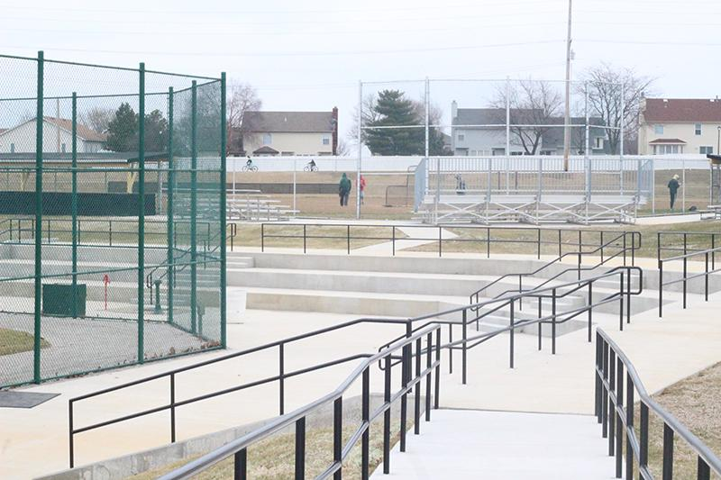 The new cement bleachers are ready just in time for the start of the boys baseball season. The team, consisting of 15-18 players, will utilize all the new equipment like the batting cages. (Photo by Katie Worsham)