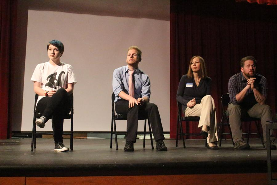 Speakers sit on stage in the auditorium while answering audience questions during fourth hour. Pictured from left to right: Bree Williams, Andrew Stoker, Sara Blandino, Morgan Keenan.