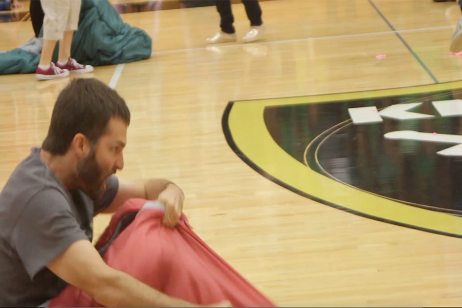 [GIF] Homecoming 2016 Teacher Ryan Johnson in Sleeping Bag Race