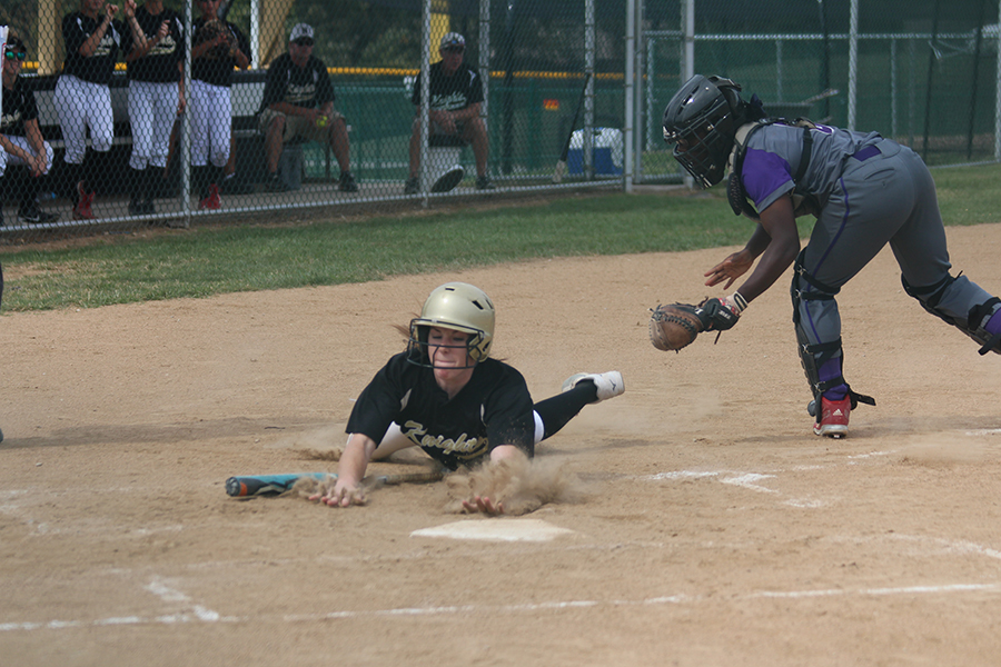 Allison Murphy slides into home during the semifinal game of the class four, district five softball tournament on Oct. 16. FHN entered the tournament seeded first, while Parkway North was seeded fifth. They won the game 8-6. (Photo by Riley McCrackin)