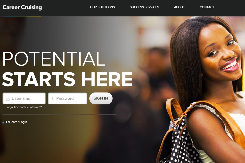 A screenshot of the CareerCruising.com homepage.
