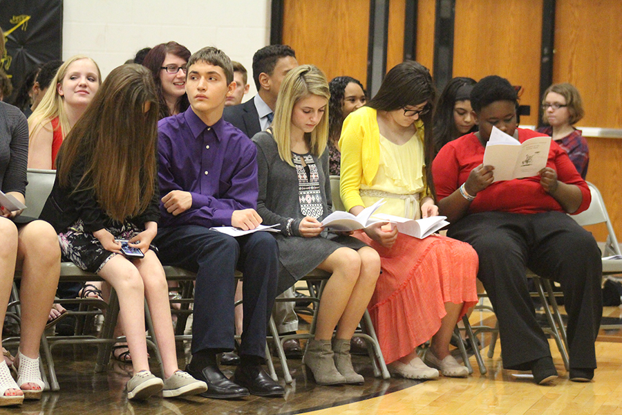 Nominated students sit in alphabetical order at the ceremony. Ninety-nine students were nominated this year.
