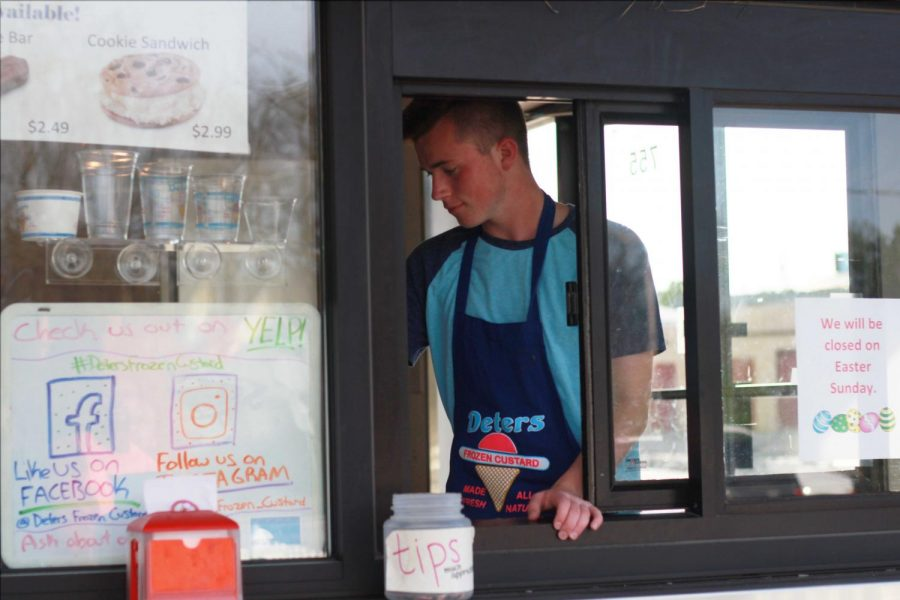 Junior Alex Baker begins to Manage at Deters Frozen Custard after a New Promotion