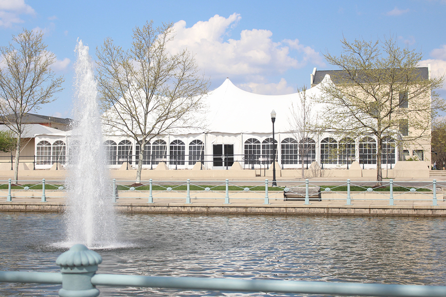 The New Town Event Tent stands along Galt House Dr in New Town, St. Charles. The tent hosts a variety events, including FHN's prom.