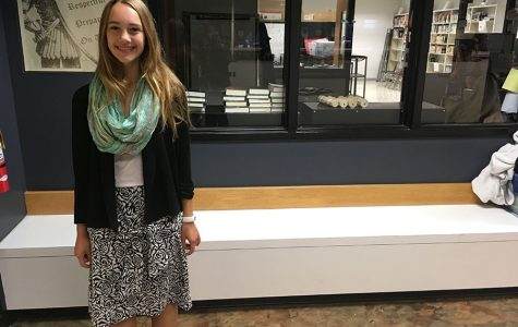 Freshman Chloé Horstman, poses in a skirt that she made herself.