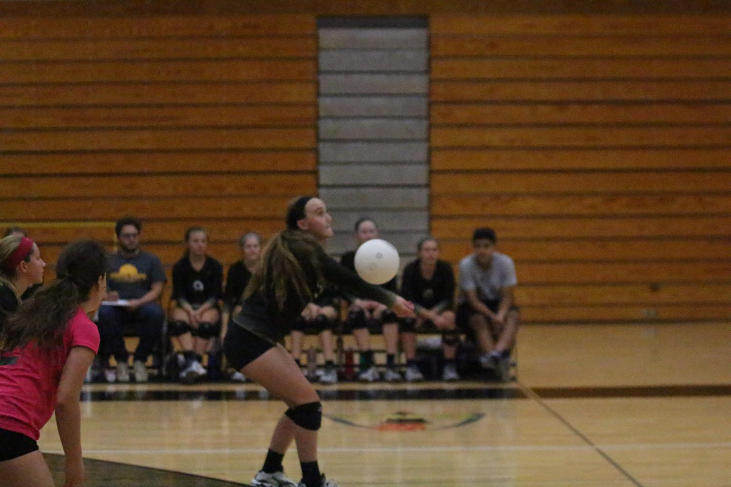 Junior Hannah Zimmerman bumps the ball (Photo by Wil Skaggs)