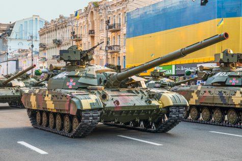 KIEV, UKRAINE - AUGUST 22, 2016: Ukrainian tanks at the military parade rehearsal for 25 years of Ukraine