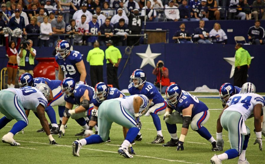 DALLAS - DEC 14: Taken in Texas Stadium on Sunday, December 14, 2008. Quarterback Eli Manning calls signals for the NY Giants offense against the Dallas Cowboys defense.