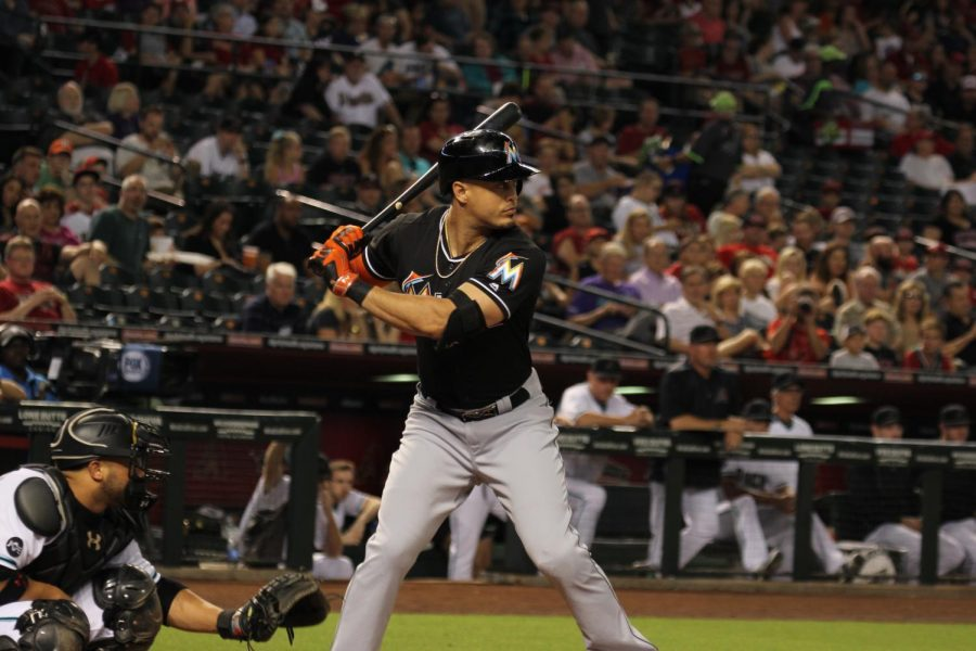 Giancarlo Stanton outfielder for the Miami Marlins at Chase Field in Glendale AZ USA 6-10-16.