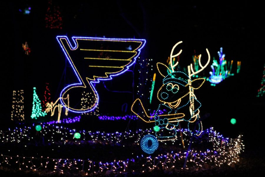 The Blues-themed lights shine at the Winter Wonderland light show at Tilles Park. The park is specifically designed for cars to drive through. It is open through the holiday season, Nov. 22-Dec. 30.