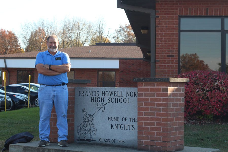 Jesse Stewart poses by the FHN sign outside the front of the school.