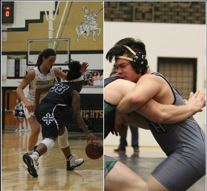 Junior Gabby Delarue takes on a defender in a home game for FHN while senior Bon Jang wrestles an opponent for the Howell North wrestling team.