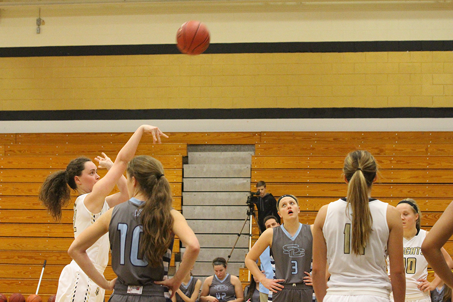Junior Hannah Wilson shots a free throw in last years game against Saint Charles High.