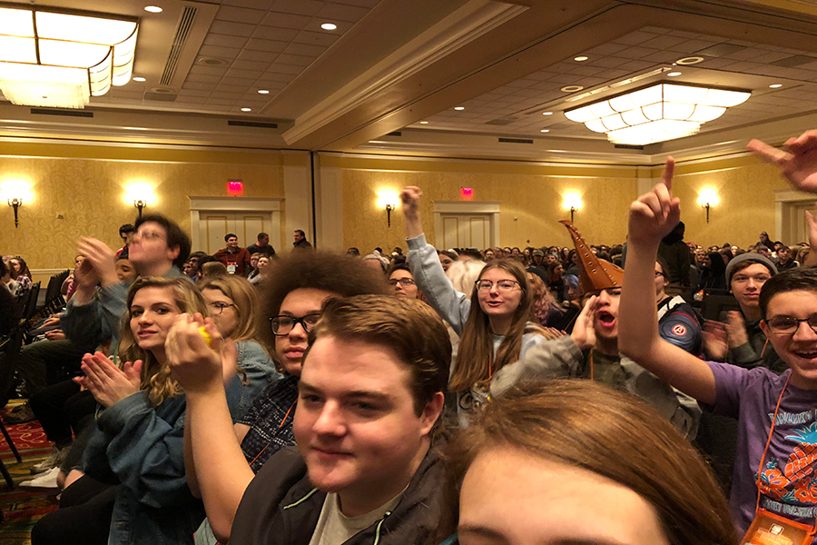 Students in Troupe 4956 at the moment they realized they had received Honor Troupe. (photo submitted)