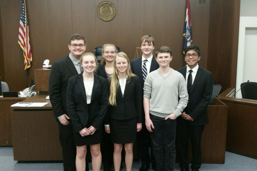 One of the three FHN mock trial teams poses after a preliminary trial leading up to regionals. In the preliminary trials, this team lost their first trial, but won their next trial 3-0. (photo submitted)