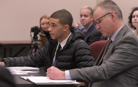 "Senior Isaiah Bryant speaks to the House Committee of Education on Jan. 19. Bryant along with senior Taylor Sheridan and teacher Aaron Manfull went to Jefferson City to speak on behalf of the New Voices Act. ""My favorite part was getting the opportunity to speak for students who don't have the same privileges as I do,"" Bryant said."