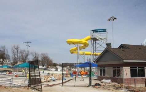 The newly constructed yellow slide stands in its new placement in Wapelhorst water park. The park is keeping only two of its old attractions.