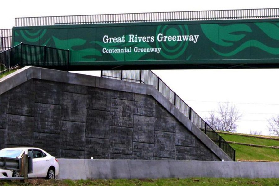 The+Great+Rivers+Greenway+bridge+lays+across+Highway+364+and+94.