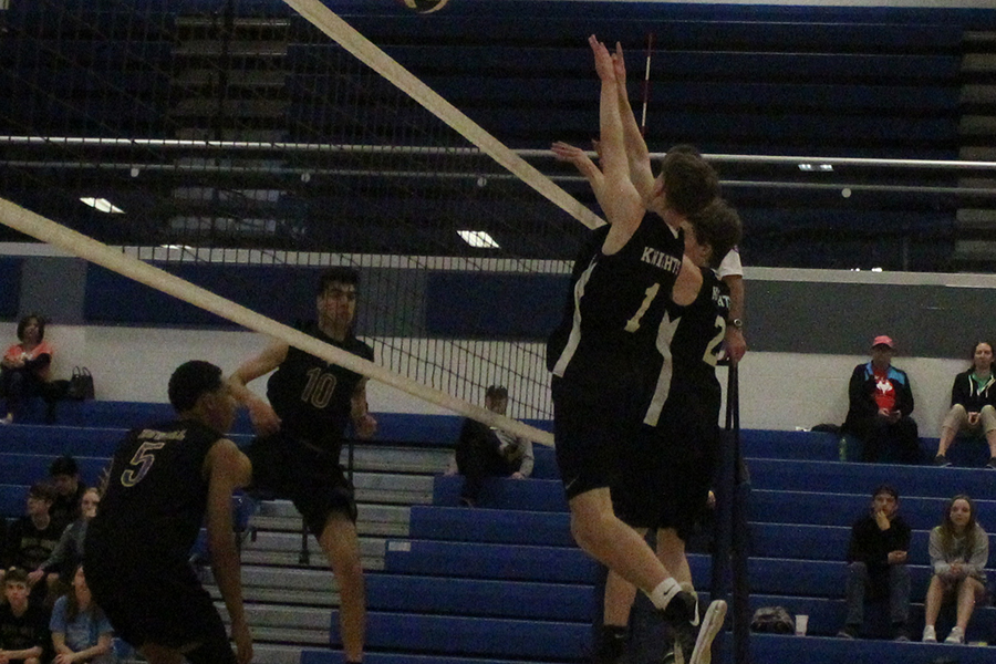 Junior John Garrelts goes up for the block against Francis Howell on 4/5.