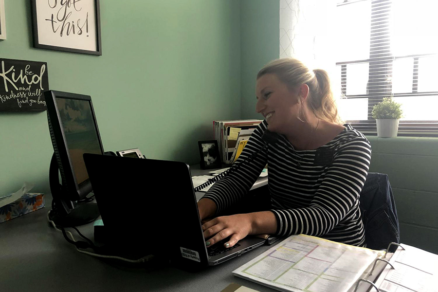 Guidance Counselor Mandy Knight works in her office at the guidance center. Knight became a Counselor after a position opened at the end of last school year, making the move from Art Teacher to Counselor.