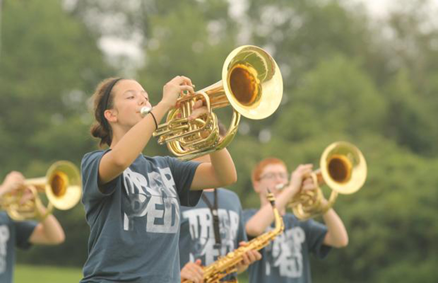 Band students rehearse their set from