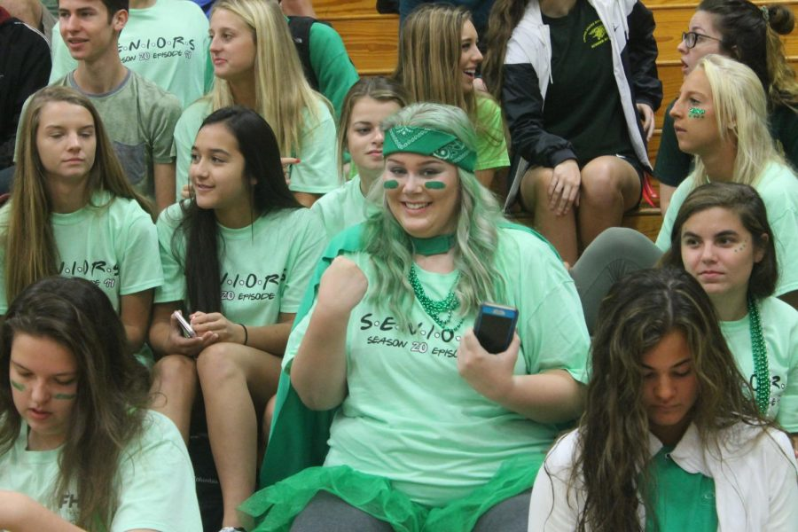 Senior Patty O'Leary at the Homecoming Pep Assembly, held on Sept. 14 in the large gym.