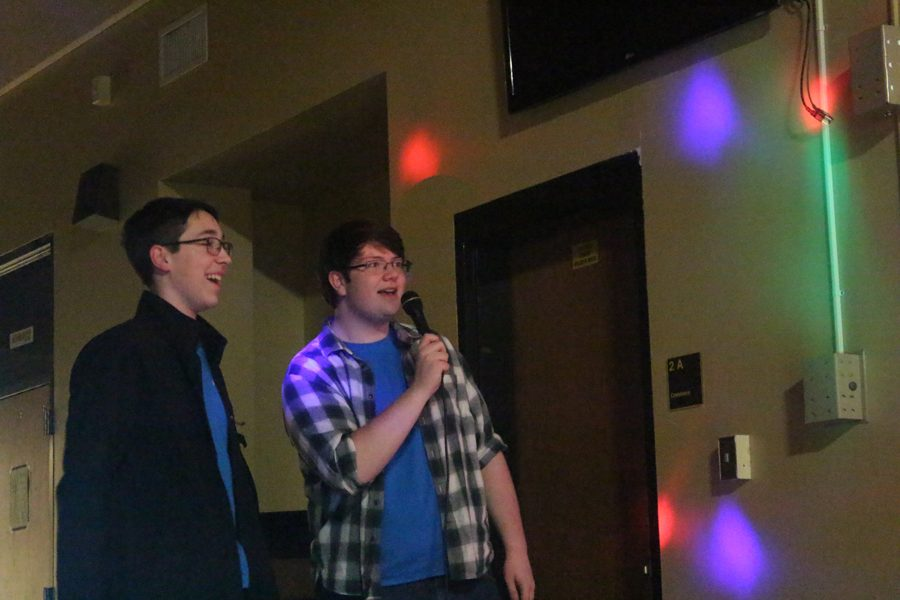 FHN Knightsound member Matthew Juhlin and Jared Strickland sing during the January Karaoke Knight. Knightsound is entering its second year of hosting Karaoke Knight. The next one will be held on Friday, Sept. 28.