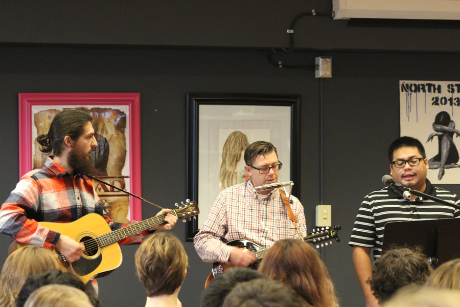 (From Left to Right) Math teacher Greg Brown, Assistant Principal Chris Birch and Spanish teacher Brian Santos, perform at the annual Coffee House on Feb. 14, 2018.
