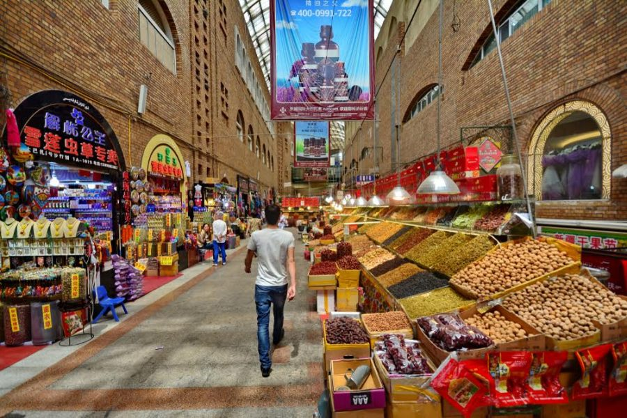 Xinjiang - June 1,2017 : Urumqi International Grand Bazaar, Xinjiang China. A tourist must-see in the heart of Urumqi, the capital city of Xinjiang. - Image