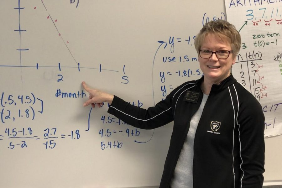Math teacher Patty Bartell showcases math problems that prepare students for test day. Test day is when Bartell plays her famous
