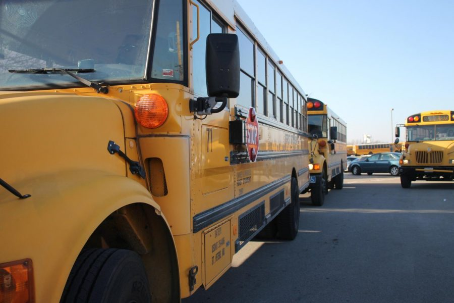 Buses begin to line up outside in the FHN parking lot as they wait for students to board. Recently the Francis Howell School District has made the decision to get new buses for schools. These buses will be exclusive to the Francis Howell School District and will be in place within the next few months.