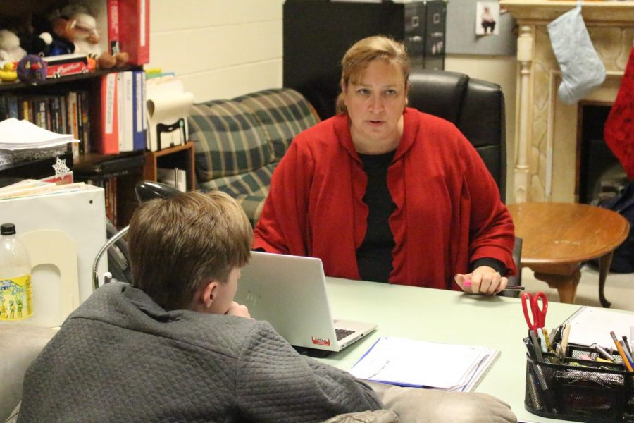 Drama director Kim Sulzner talks with Nick Blodgett about improv Olympics games. The FHN drama club will be attending the Missouri State Thespian Conference in Kansas City January 9-12. Students will be competing for scholarship and individual events as well as in state wide competitions.