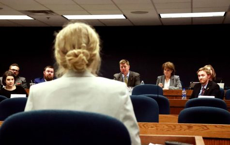 Junior Emily Hood receives a question from Committee Chairmen Rep. Dean Plocher. Hood testified on behalf of student journalist from around the state and country. Hood had worked on her testimony with Manfull to be ready and comfortable when she presented it in front of the committee.