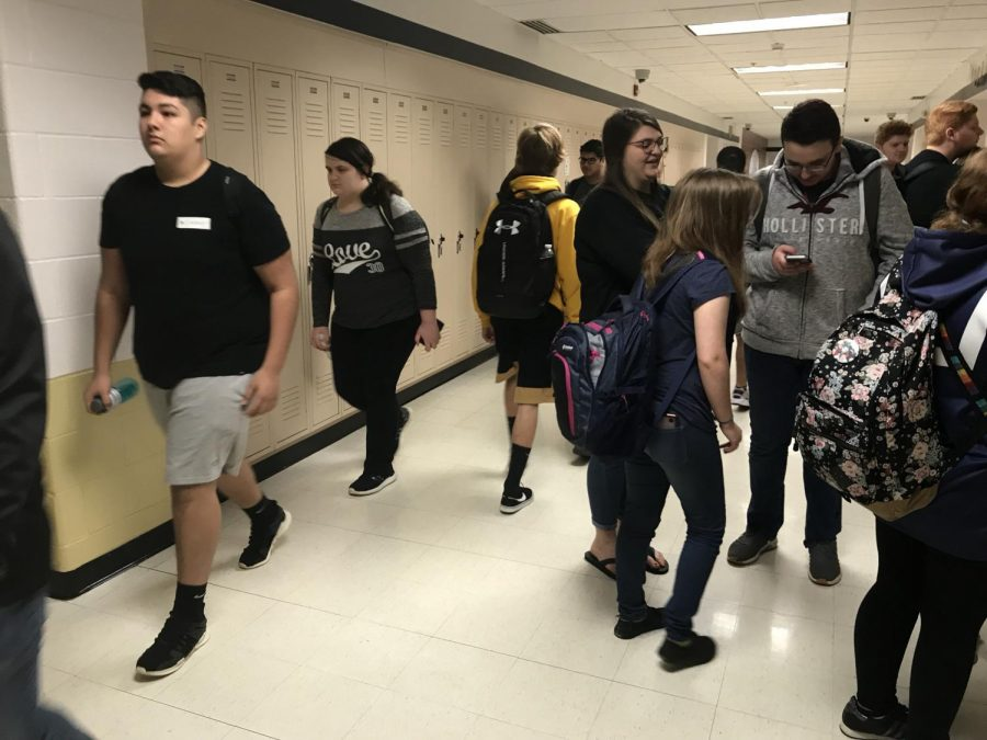 Students from FHN walk down the hallway between classes. Over the past year, the number of kids who feel safe at school has jumped by over 30%.